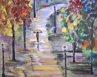 Original Painting, Autumn Rain