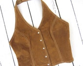suede halter top, vintage vest, boho leather top, festival top, brown suede top, vintage leather clothing, retro top, hippie style top