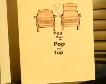 T25/T3 VW Campervan Valentines Card......Pop My Top....