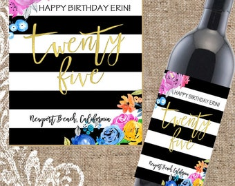 Birthday Wine Label, Gifts for Her, Birthday Present, Birthday Wine Label, Wine Gift, Custom Wine Label, Birthday Gift, Custom Wine