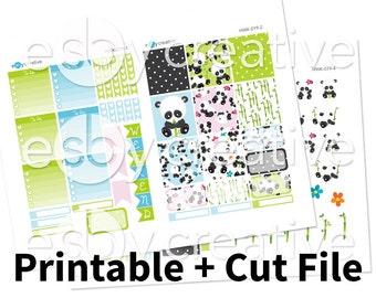 Sale - 25% Off! Panda Theme - Weekly Sticker Kit Printable for Erin Condren Horizontal - HWK-019 - INSTANT DOWNLOAD