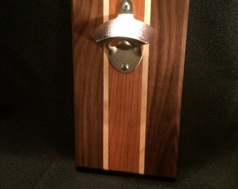 """The """"16"""" Walnut, Cherry and Maple Wood / Magnetic Bottle Opener"""