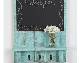 "24"" x 17"" distressed pain pallet wood key holder shelf entry way mudroom real chalkboard mail holder organizer memo board message center"