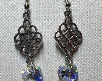 Silver chandelier earrings with Swarovski heart crystal AB