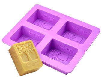 Cold Soap Hand mold Silicone soap mold Rectangular tree mold Four-hole soap mold Candle Maker
