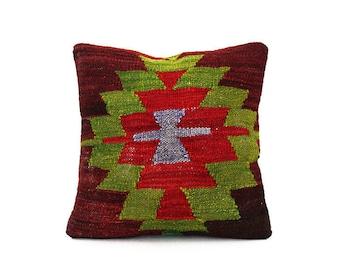Ethnic Kilim Pillowcase Wool Decor Vintage Tribal Handwoven Organic Modern Decorative Kilim Pillow Cover Pillowcase Boho kilim pillow cover