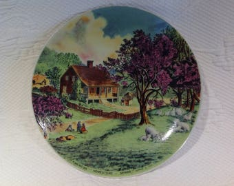 """Currier & Ives """"American Homestead Sping"""" - décorative plate """"The Currier and Ives Plate collection"""" porcelain - spring Scene"""