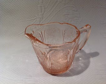 "Vintage Jeannette Glass ""Cherry Blossom"" Creamer pink depression glass / / made in the United States"