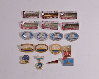 Set Soviet Badges Soviet Pins Shipbuilding Development History Seamanship Russian Badges Russian Pins