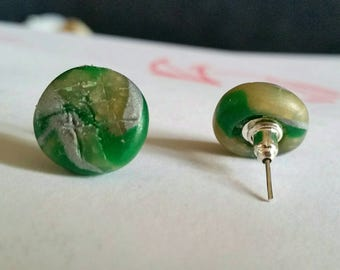 Green Marbled Earrings