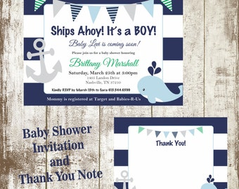 Printed, Baby Shower Invitation and Thank You Note set, heavy 110lb card stock, premium quality!
