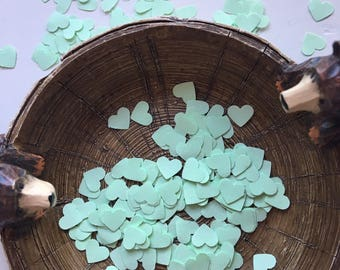 Handmade Pastel Green/Mint Heart Shaped Confetti - Choose from 100, 200 or 500 Pieces // Wedding Confetti // Baby Shower Confetti