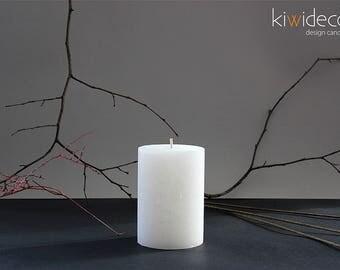 "Handmade Large Rustic Pillar Candles Ice White 85 x 120 mm (3.34 x 4.72"") Scandinavian design home decor"
