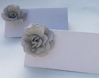 10 place cards, paper roses, wedding place names, dinner place cards, wedding place cards, seating cards, place setting, rose place cards