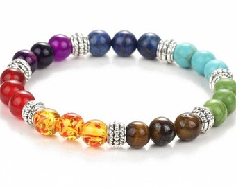 8MM 7 Chakra Natural Stone Stretch Bracelet