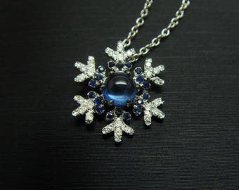 18K white Gold natural Sapphire  and natural  diamond  snow Necklace