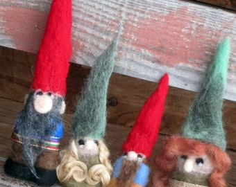 Custom Needle Felted Gnome/Tomten/Elf Family