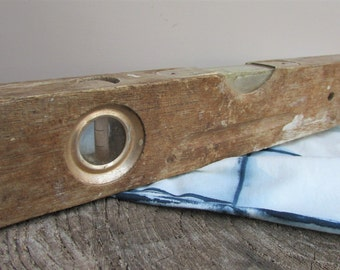 Vintage Wood & Brass Functional Spirit Level / Collectable Old Tools / Woodworking, Building, Carpentry