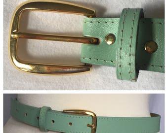 Vintage Teal Belt with Gold Buckle