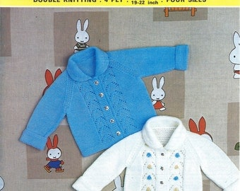 Babies collared Jacket in 4ply and DK (8ply), Vintage Knitting Pattern, PDF, Digital Download