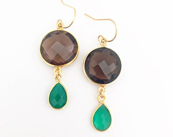 Smoky Quartz and Green Onyx Earrings