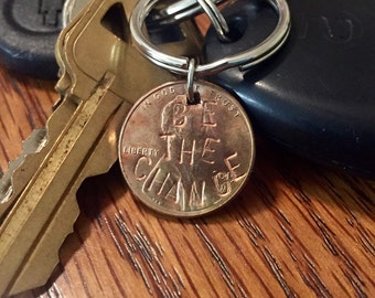 Be The Change Handstamped Keychain