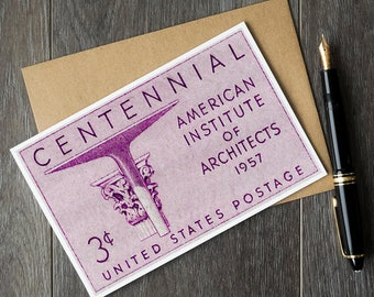 Architect gifts, gifts for architects, architect history, United States Postage, architecture gifts, architect cards, vintage architecture