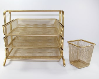 Gold Desk Organizer Set