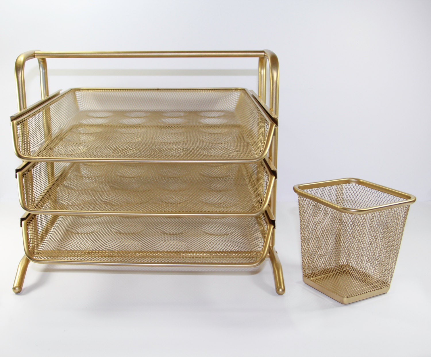 Gold desk organizer set by pinkcoquette on etsy - Desk organizer sets ...