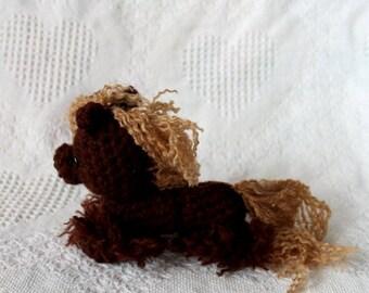 Mini Brown Pony Plush with Feathers, Crocheted plush, Amigurmi, horse plush, stuffed animal, knitted stuffy