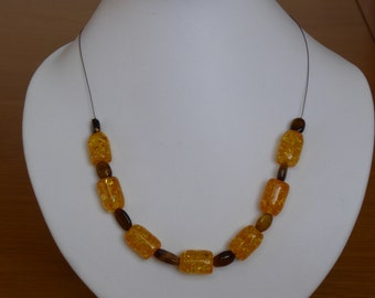 Amber and tigers eye necklace, sterling silver clasp, approx 17""