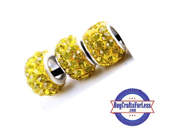 Glittery Glass Beads, Sunshine YELLOW, 6 pcs