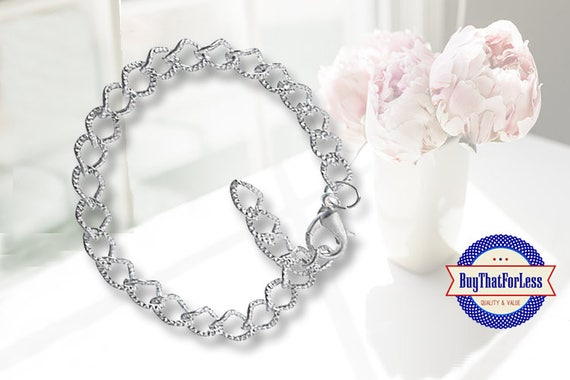 Textured Chain Charm Bracelet, clip end **FREE Shipping with orders 10 dollars+**