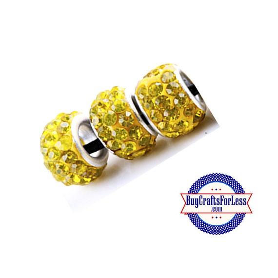 Glittery Glass Beads, Sunshine YELLOW, 6 pcs