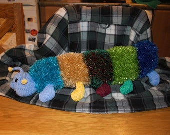 Hand Knitted with Tinsel Chunky Wool Centipede