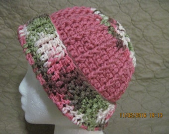 pink winter hat with sage, brown and cream