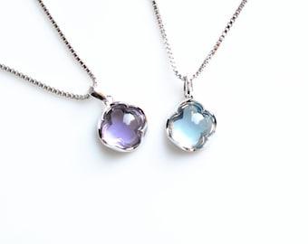 Topaz Necklace Silver Necklace Blue Topaz Necklace 18K Gold Necklace Gemstone Necklace Silver Topaz Necklace Blue Necklace Pendant Necklace