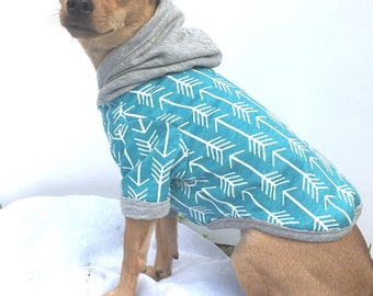 Hoodie Jumper -Hoodie, dog Jumper, winter coat, Green, Teal, White, Arrows -(AVAILABLE) Woodland / Strawberry  (SOLD OUT)fruit  puppy hoodie