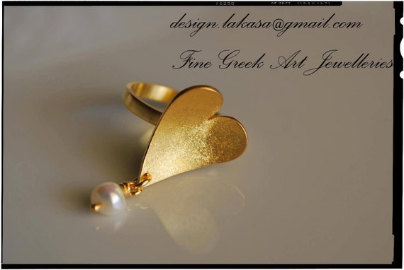 Heart Ring with Pearl Silver 925 Gold-plated Lakasa e-shop Jewelry
