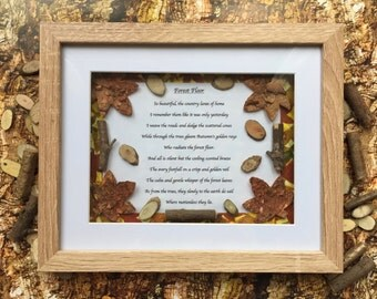 Original Poem, Framed Poetry, Forest Poem, Autumn Poem, Mixed Media Art, Collage, Home Decor, 'Forest Floor' ©.