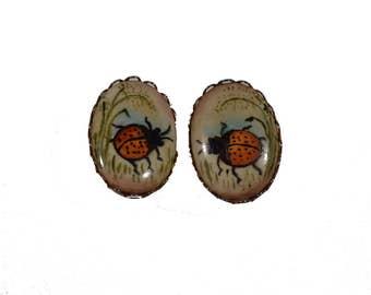 Vintage Ladybug Clip-On Earrings