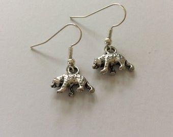 Bear earrings / bear jewellery / animal earrings / animal jewellery / animal lover gift