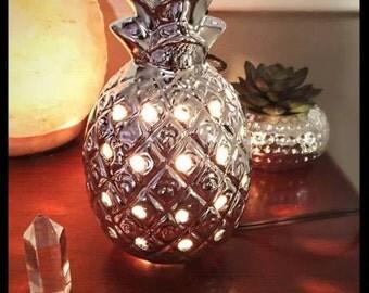 Metallic Silver  Pink Himalayan Salt Lamp