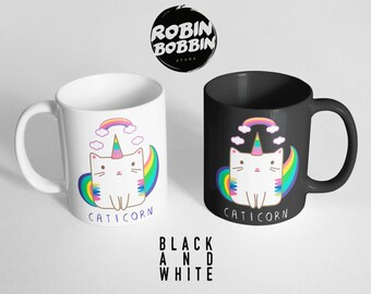 Caticorn with Rainbows Coffee Mug, Cat Coffee Cup, Tea Mug-Cute Cat Mug-Funny Gifts for Friends-Funny Mug-Cat Unicorn Mug, Black and White
