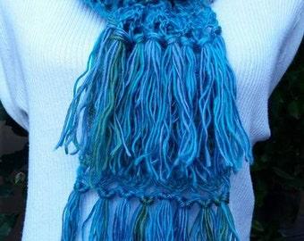New blue scarf green crochet, scarf blue, scarf green, blue scarf, green scarf, crochet scarf, winter scarf
