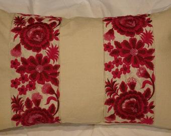 Series 2 Indian Garden: Cushion, 30 x 50, or 12 x 20, beige cotton, embroidered braid Indian fuchsia.