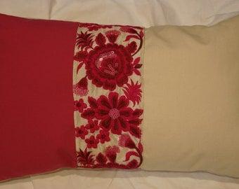 Series 3 Indian Garden: Cushion, 30 x 50 or 12 x 20, beige cotton, cotton hot pink, fuchsia Indian embroideries.