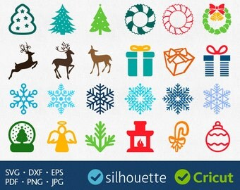 Christmas clip arts Svg Christmas Image Pack Svg Cuttable Christmas Designs for Cricut Christmas Files For Cut Silhouette Dxf Files download