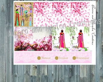 Japanese blossom Happy Planner or Erin Condren kit