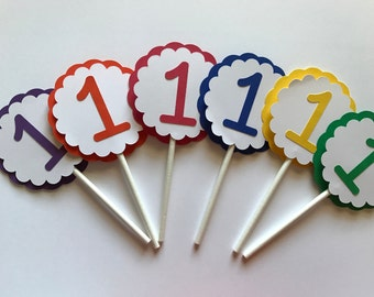 Rainbow 1 Cupcake Toppers - Rainbow First Birthday Party Decorations - Girl Birthday Party Decorations - Boy Birthday Party Decorations